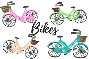 Hand drawn bike, bicycle clipart