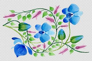Ornament of blue flowers PNG waterco