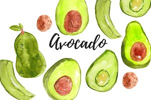 Watercolor Avocado Food Clipart