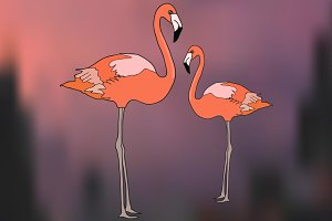 Vector set with flamingos