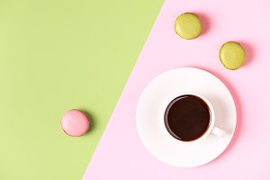 Cup of coffee with macaroons