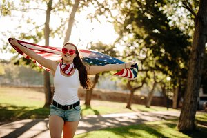 American woman celebrating