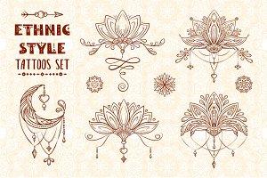 Ethnic style tattoos set