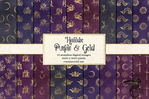 Heraldic Purple & Gold Digital Paper