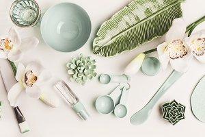 Green cosmetic skin care setting