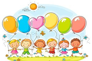 Happy kids outdoors with balloons