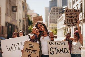 Girls having fun at women's march
