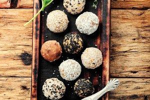 Homemade healthy vegan chocolate tru