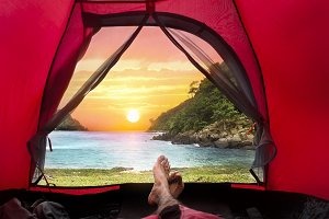 Camping Tent on Beach