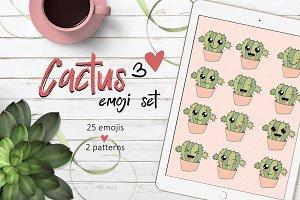Cactus cute emoji set