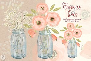 Watercolor baby breath mason jar