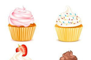 Four Colorful Cupcakes Isolated Set