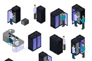 People In Data Center Isometric Set