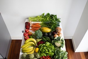 Aerial view of fruit and vegetables