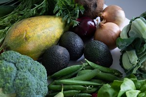 Closeup of raw vegan nutrition