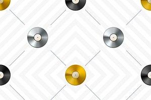Vinyl discs retro pattern