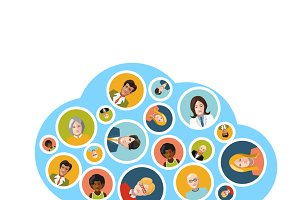 People flat avatars in cloud