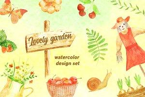 Lovely garden. Watercolor set.