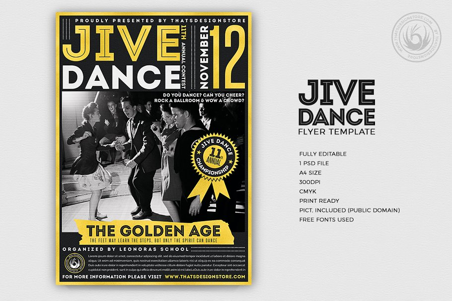 Jive Dance Flyer Psd Flyer Templates Creative Market Pro