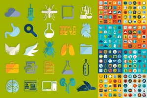 9 sets of veterinary flat icons 225