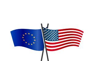 USA and European Union flags