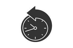 Back arrow around clock glyph icon