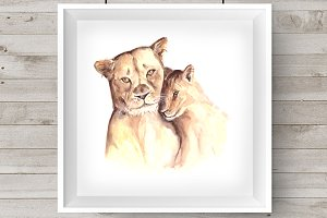 Watercolor Mother & Baby - Lions