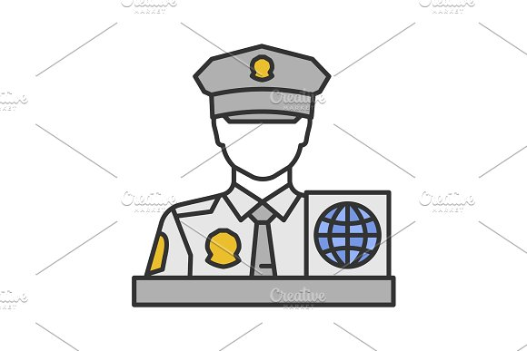 Passport control officer color icon