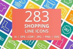 284 Shopping Line Multicolor Icons
