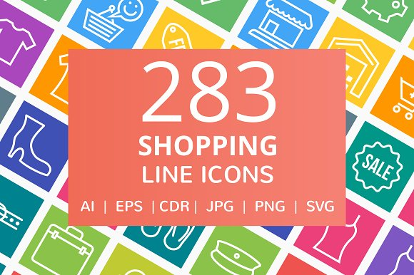 284 Shopping Line Multicolor Icons in Graphics