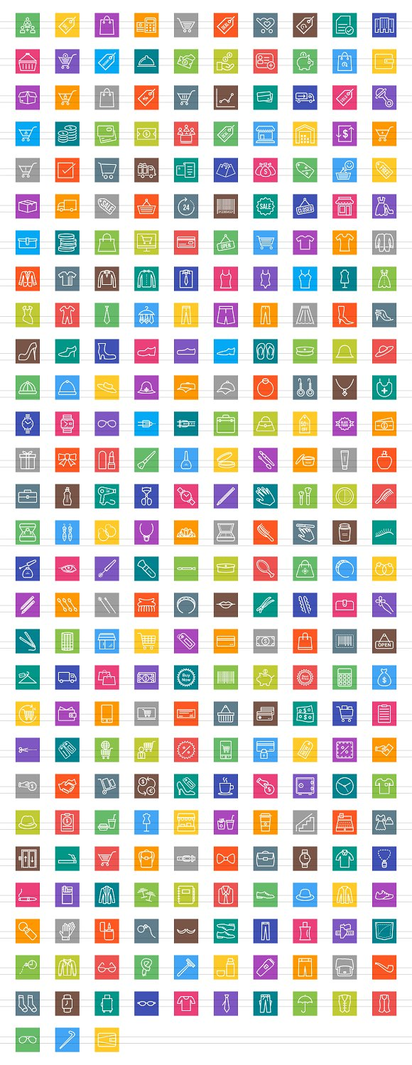 284 Shopping Line Multicolor Icons in Graphics - product preview 3