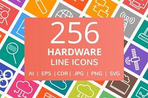 256 Hardware Line Multicolor Icons