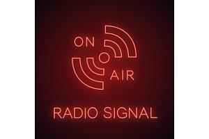 Radio signal neon light icon