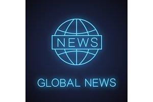 Global news neon light icon