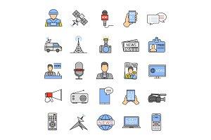 Mass media color icons set