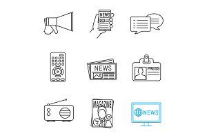 Mass media linear icons set