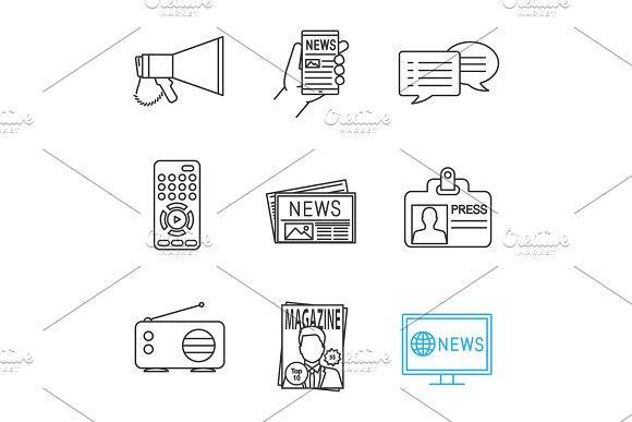 Mass media linear icons set ~ Icons ~ Creative Market