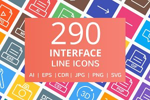 290 Interface Line Multicolor Icons