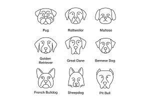 Dogs breeds linear icons set