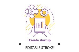 Creating startup concept icon