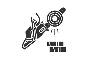 Chainsaw glyph icon