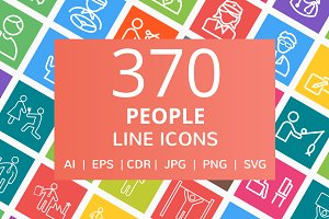 370 People Line Multicolor Icons