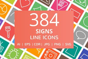 384 Signs Line Multicolor Icons