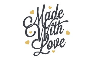 Made with love wintage lettering