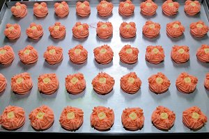 Round pink cookies