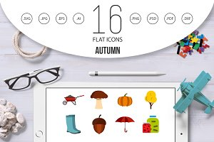 Autumn icons set, flat ctyle