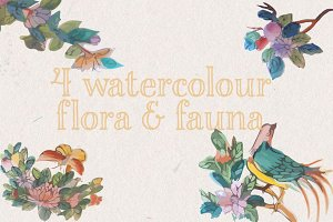 Watercolour birds & flowers vectors