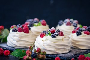 Homemade meringue basis for cake Pav