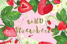 Wild strawberry watercolor clip art