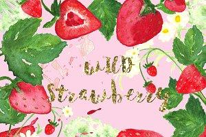 Wild strawberry watercolor clip art